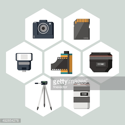 Flat icons vector collection of photography equipment.