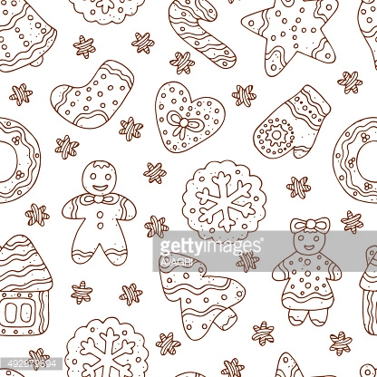 Doodles Christmas Cookies. Gingerbread - Vector Seamless pattern. Celebratory background.