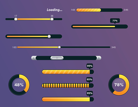 Vector collection of buffering elements and progress loading bars