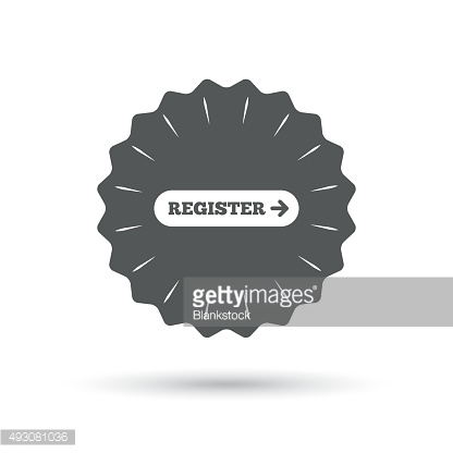 Register with arrow sign icon. Membership symbol