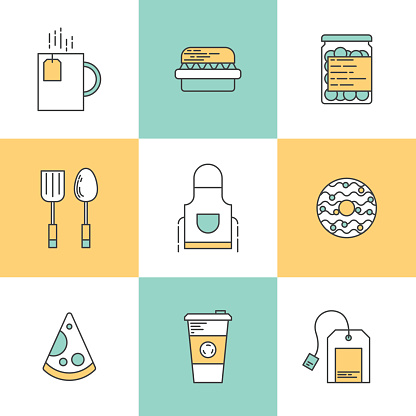 Line icons with flat design elements of kitchen