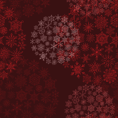 red background christmas balls from snowflakes