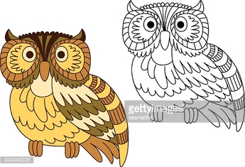 Cartoon brown short eared owl