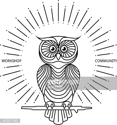 Vintage owl label in line art style. Vector logo or