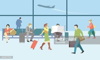 Business people in airport terminal. Vector travel concept background