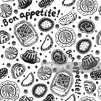 Food pastry seamless pattern in black and white colors