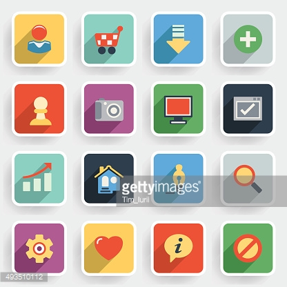 Basic modern flat icons with color buttons on gray background.