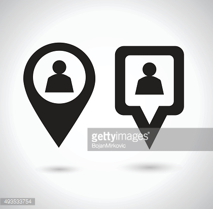 Location icon. Round and square pin pointer.