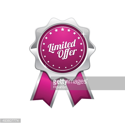 Limited Time Offer Pink Vector Icon Design