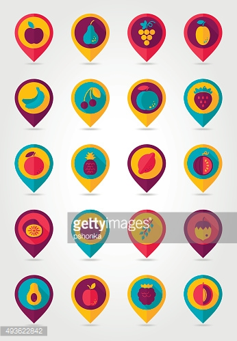 Fruits mapping pins icons