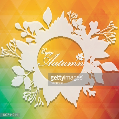 Frame from autumnal leaves on white silhouette background