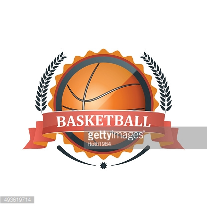Basketball icon, label with ribbon and laurel wreath. Vector illustration.