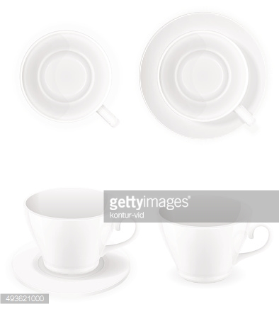 porcelain cup top view and a side vector illustration