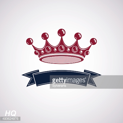 Vector imperial crown with undulate ribbon. King regalia design element