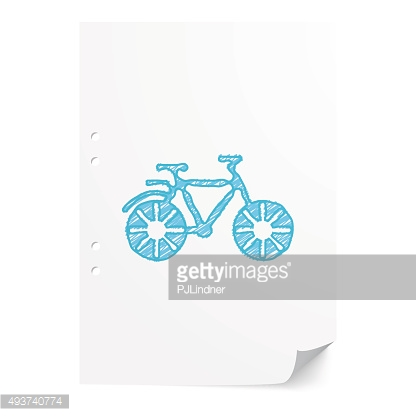 Blue handdrawn Bicycle illustration on white paper sheet with co
