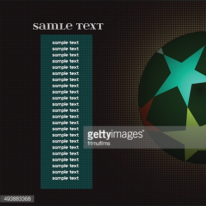 Champions league ball with information text board