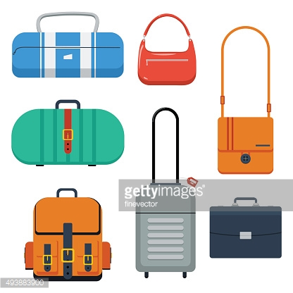 Bags, suitcase and backpack vector illustration.