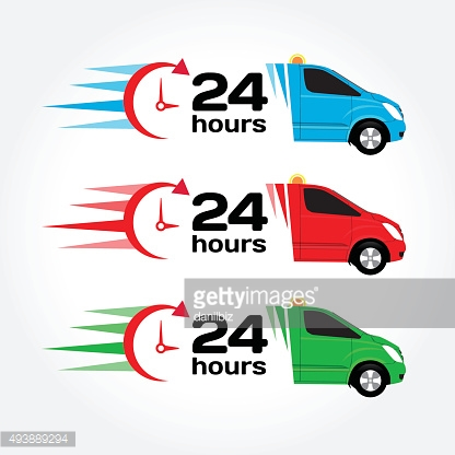 Blue, red, green emergency/urgent car. Shipping car. Delivery car.