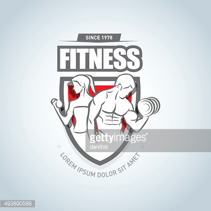 Man and woman Fitness logo template. Gym club logotype.