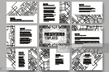 Set of 9 templates for presentation slides. Abstract vector backgrounds
