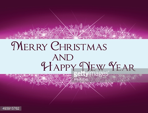Christmas, New Year purple pink banner with snowflakes and text