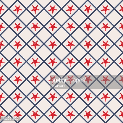 Seamless pattern with cross lines and starfish