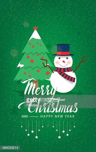 Christmas Tree and Snowman on a green background.