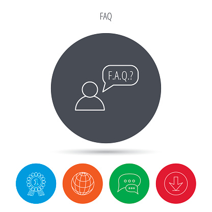 FAQ service icon. Support speech bubble sign.