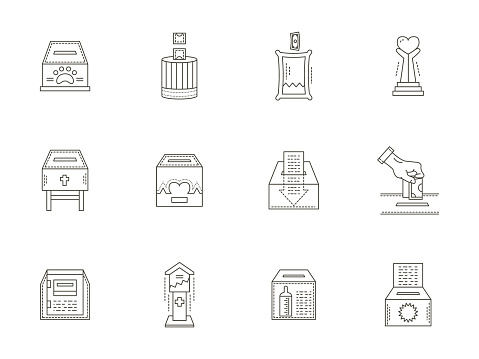 Donation boxes thin line icons vector collection