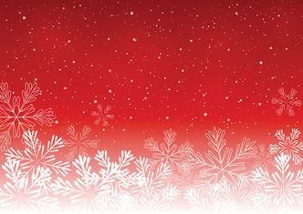 Shiny snowflakes on red background
