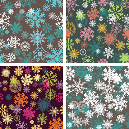 Set of snowflakes seamless backgrounds.