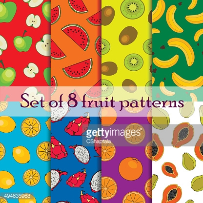 Set of seamless fruit and berry pattern