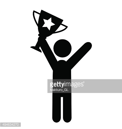 People Man with Winner Cup Flat Icons Pictogram on White