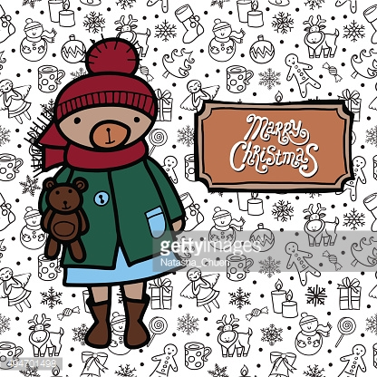 Greeting card with Merry Christmas text.