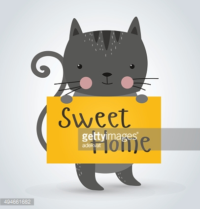 Cat pet animal holding clean welcome sweet home board vector
