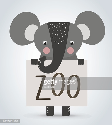 Elephant wild cartoon animal holding clean welcome zoo board vector