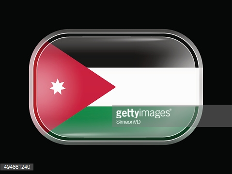 Flag of Jordan. Rectangular Shape with Rounded Corners