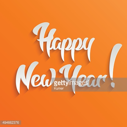Happy New Year 3d Calligraphic Text with Shadow