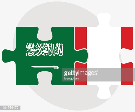 Saudi Arabia and Peru Flags