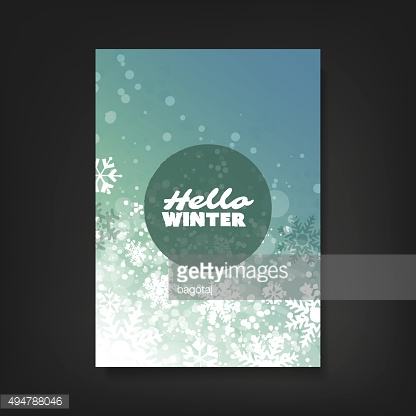 Sparkling Winter Concept Design Template with Abstract Blurred Background