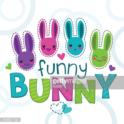 Cute colorful kids illustration with bunny faces