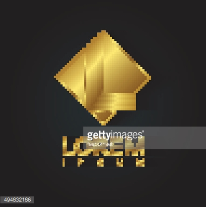 Vector graphic golden square alphabet symbol with striped letter