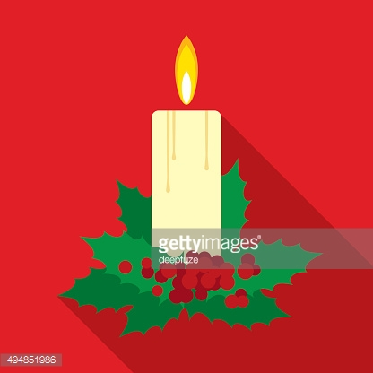 Christmas Candle in Flat Style with Long Shadows