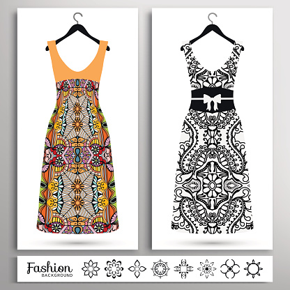 Women's dress on a hanger and stylized flowers collection