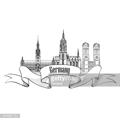 Germany label. Travel German cities symbol. Famous german architectural landmarks.