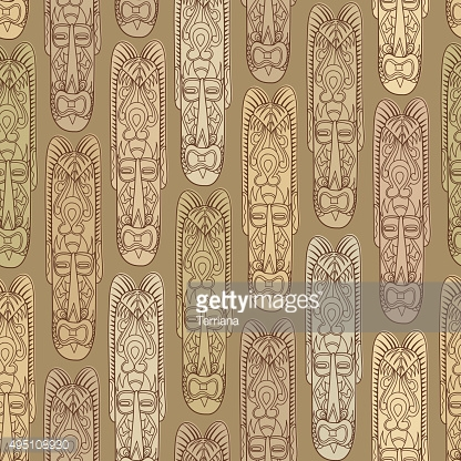 Abstract ethnic pattern with mask. Native seamless background.
