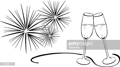 Two glasses with sparkling wine - New Year's Eve