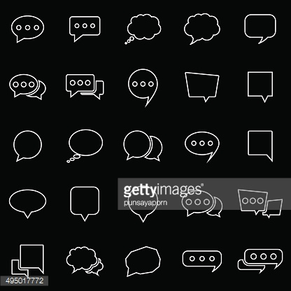 Speech Bubble line icons on black background