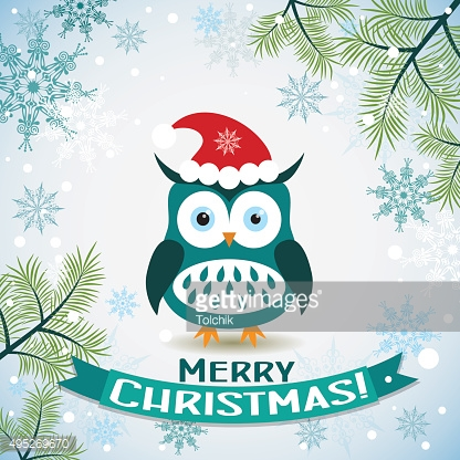 Template Christmas greeting card with a owl