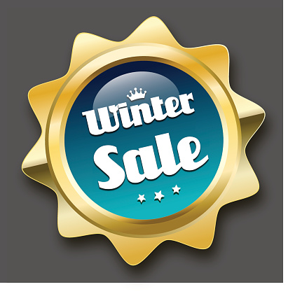 Winter sale seal or icon